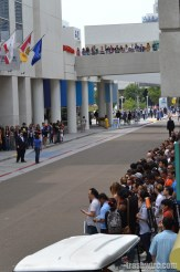 Fans crowd outside the Hilton San Diego Bayfront awaiting their favorite stars.