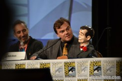Rob Letterman, Jack Black and Slappy at the Goosebumps panel at Comic Con 2014