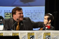 Jack Black and Slappy the dummy at the Goosebumps panel at Comic Con 2014 SDCC
