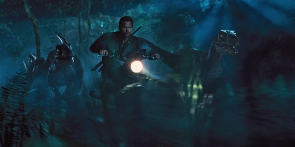 "Owen (CHRIS PRATT) leads the raptors on a mission in ""Jurassic World"". Steven Spielberg returns to executive produce the long-awaited next installment of his groundbreaking ""Jurassic Park"" series. Colin Trevorrow directs the epic action-adventure, and Frank Marshall and Patrick Crowley join the team as producers."