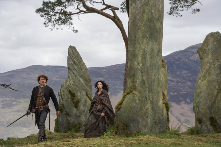 Sam Heughan and Caitriona Balfe as Jamie and Claire in Outlander on Starz