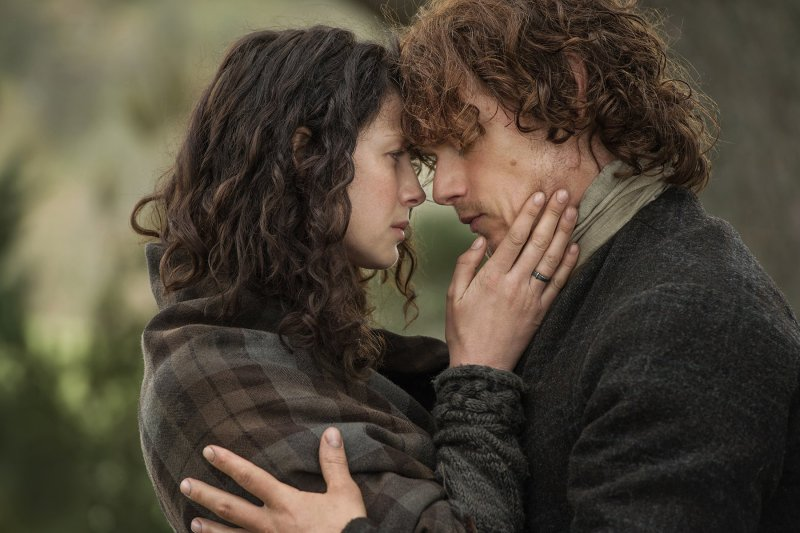 Caitriona Balfe and Sam Heughan as Claire and Jamie in the Starz series Outlander