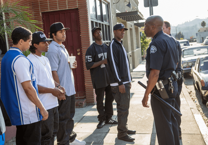 The members of N.W.A. are harassed by the police in Straight Outta Compton