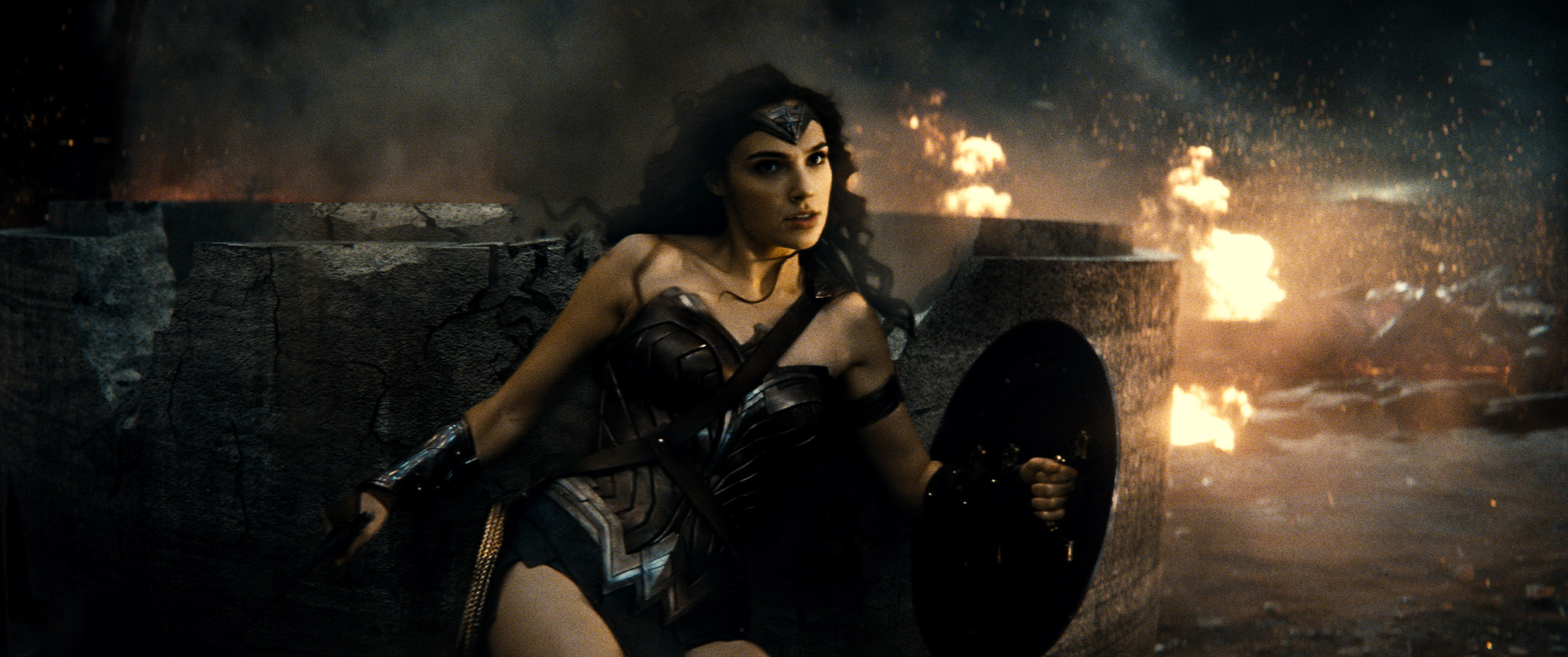 "GAL GADOT as Wonder Woman in Warner Bros. Pictures' action adventure ""BATMAN v SUPERMAN: DAWN OF JUSTICE,"" a Warner Bros. Pictures release."