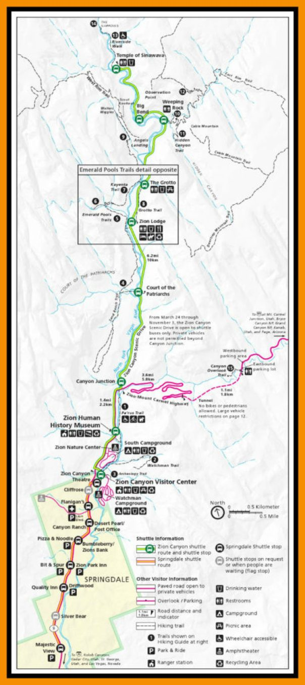 Trail Map Zion National Park