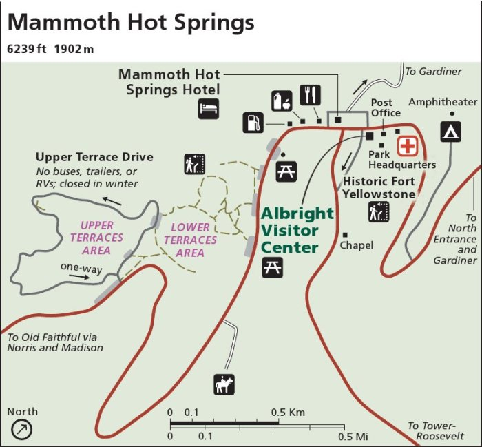 Yellowstone mapa Mammoth Hot Springs