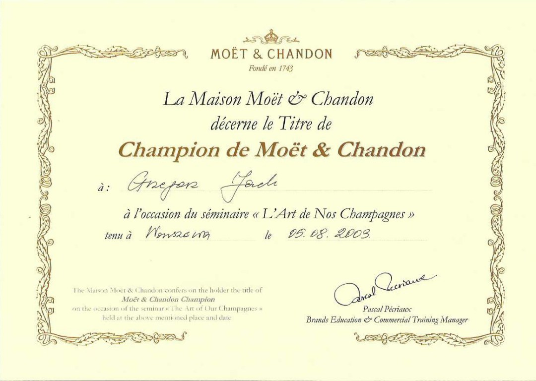 Grzegorz's Moet & Chandon Diploma