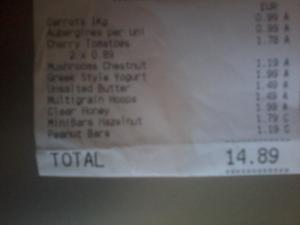 Lidl receipt