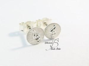 Ohrstecker Notenschlüssel Silber