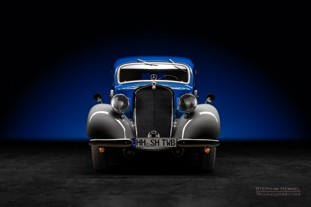 Mercedes-Benz 170 V, Baujahr 1949, Frontalansicht, Oldtimer, Autofotografie: Stephan Hensel, Hamburg, Oldtimerfotograf, Autofotograf, Automobilfotograf, Oldtimerfotografie