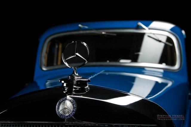 Mercedes-Benz 170 V, Baujahr 1949, Detailansicht, Mercedesstern, Motorhaube, Oldtimer, Autofotografie: Stephan Hensel, Hamburg, Oldtimerfotograf, Autofotograf, Automobilfotograf, Oldtimerfotografie