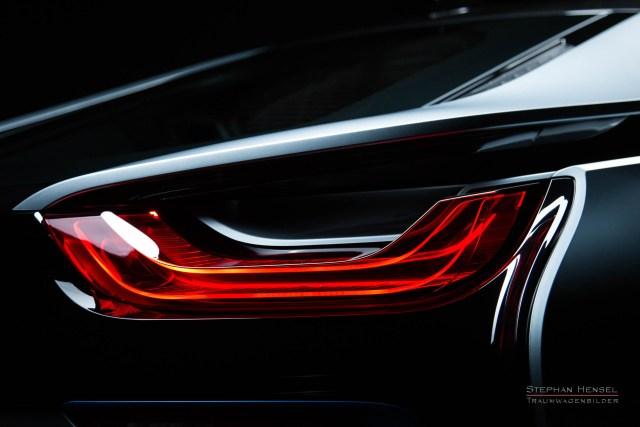 BMW i8, Detailansicht Rückleuchte im Studio, Automobilfotograf: Stephan Hensel, Hamburg