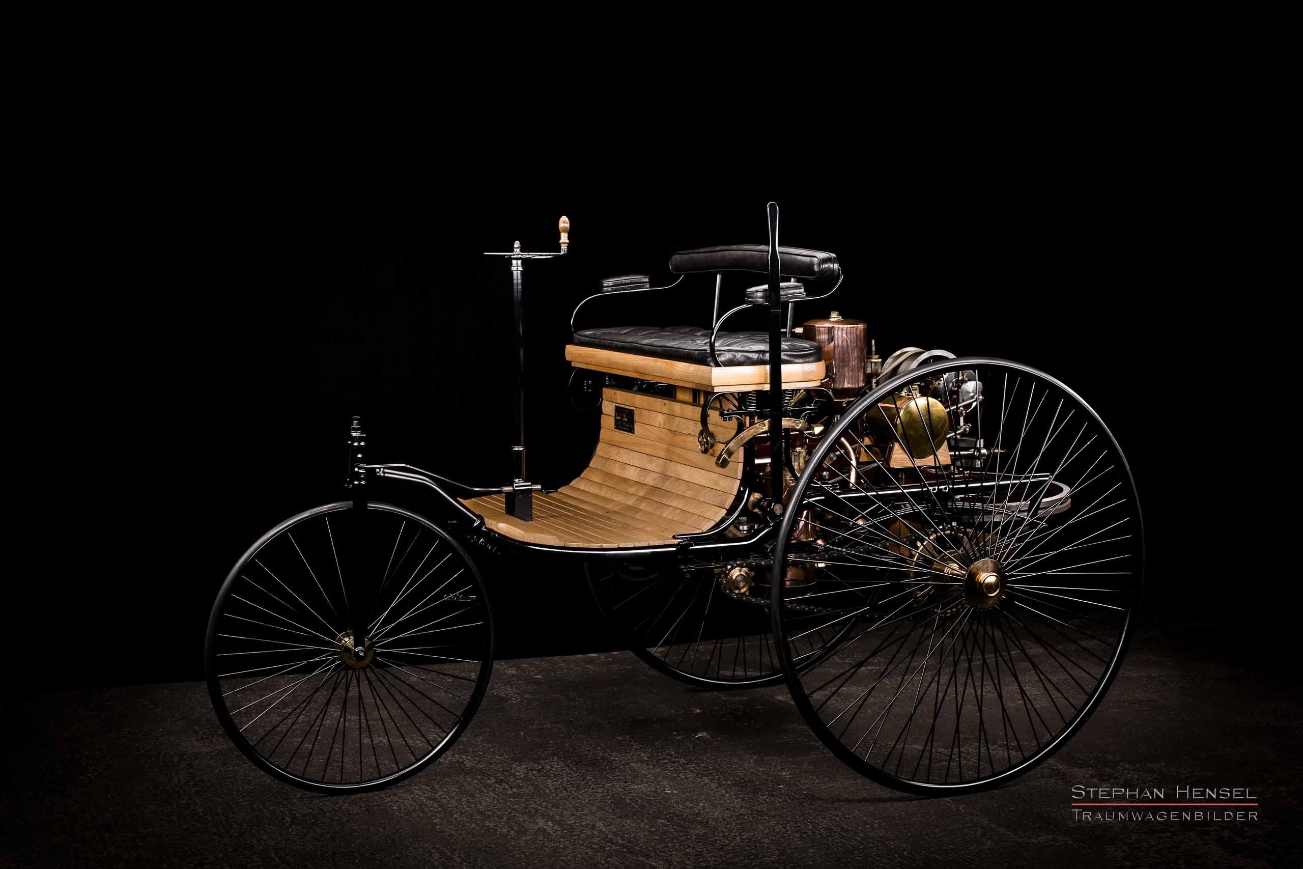 Benz Patent-Motorwagen Nr.1, Das erste Automobil, Ansicht von links vorn, Oldtimerfotografie: Stephan Hensel, Hamburg, Oldtimerfotograf, Oldtimer, Oldtimerfotografie