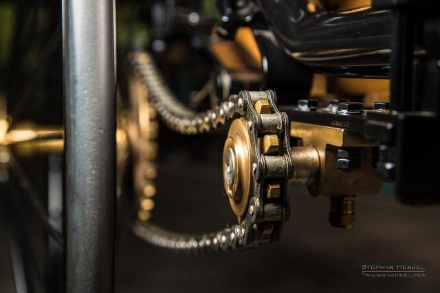 Benz Patent-Motorwagen Nr.1, Das erste Automobil, Detailansicht Antriebskette, Oldtimerfotografie: Stephan Hensel, Hamburg, Oldtimerfotograf, Oldtimer, Oldtimerfotografie