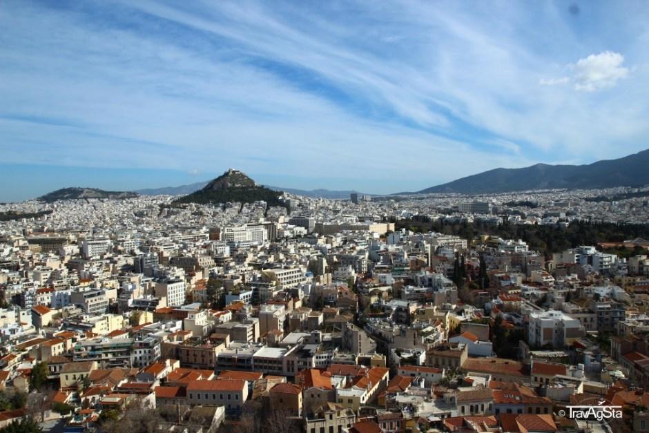 View to Lykabettus, Acropolis, Athens, Greece