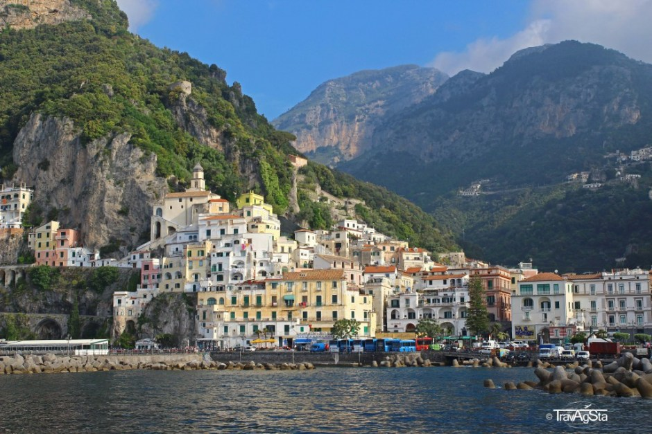 Amalfi, View from to boat to Capri, Italy