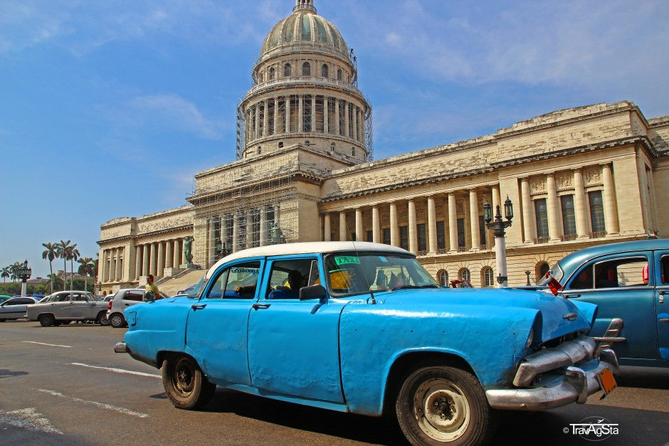 Vintage car in front of the Capitol in Havana, Cuba