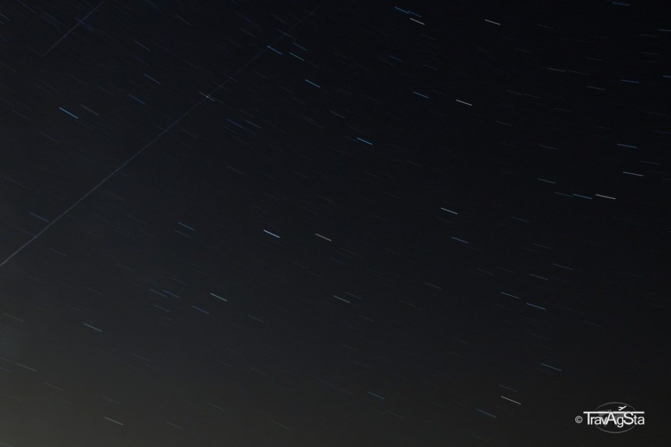 Stars moving in long exposure time including two shooting stars