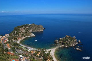 View of Isola Bella from Castelmola, Sicily, Italy