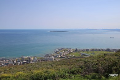 Robben Island seen from Signal Hill, Cape Town, South Africa