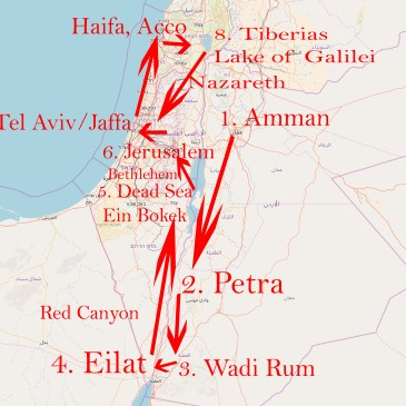 Routenempfehlung für 2 Wochen Jordanien und Israel