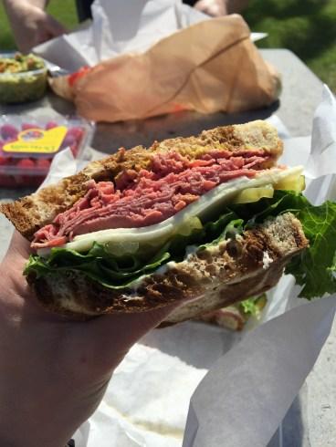 Deli counter pastrami sandwich
