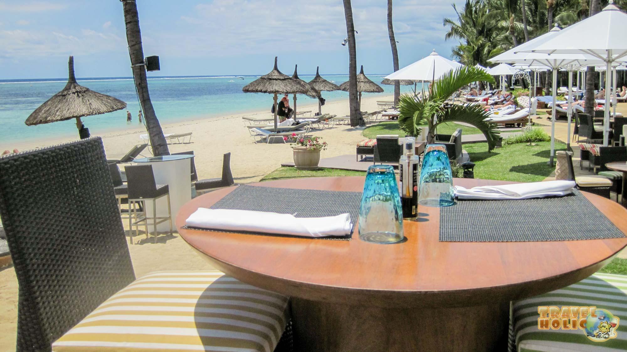Terrasse du Sugar Beach, à l'île Maurice