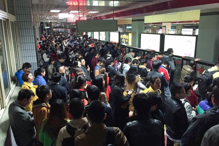 Beijing subway crowds