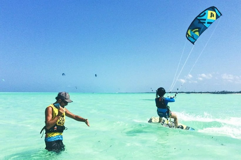 kite coach is giving a kitesurfing lesson in Paje Zanzibar