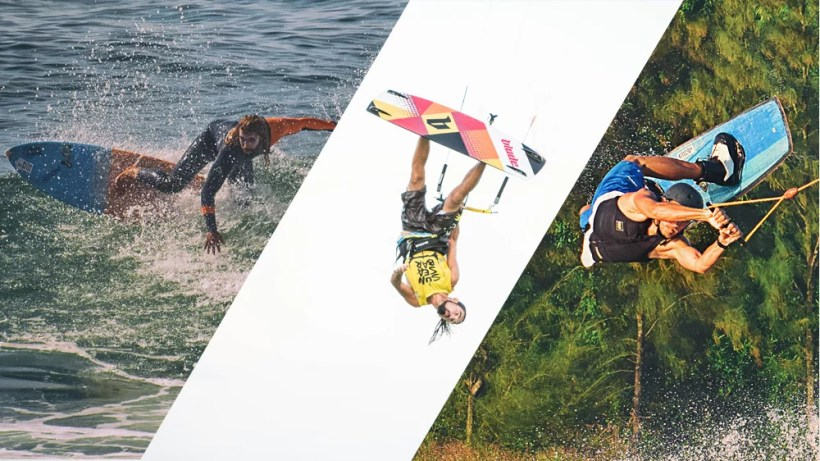 set of pictures showing surfer making top turn on a wave kitesurfer jumping upside down and wakeboarder doing rally