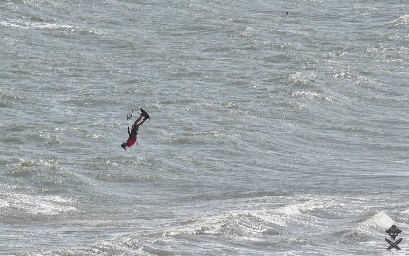 kitesurfer doing dead man trick during Big Air competition in Mui Ne Vietnam 2018