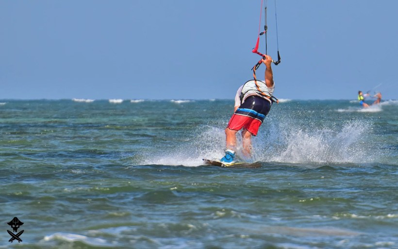 Adam Borys bald kitesurfer landing sbend to blind on Phan Rang lagoon one of the best spots worldwide