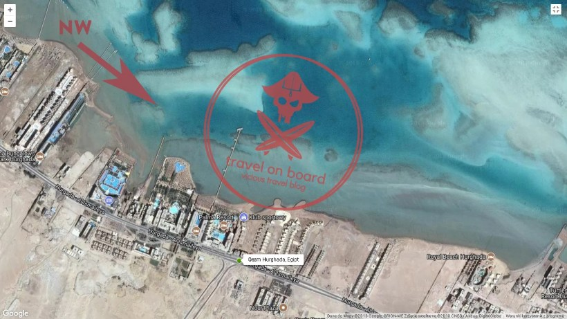 map with kitesurfing spot in Hurghada AMC - one of the best kitesurfing spots in Egypt