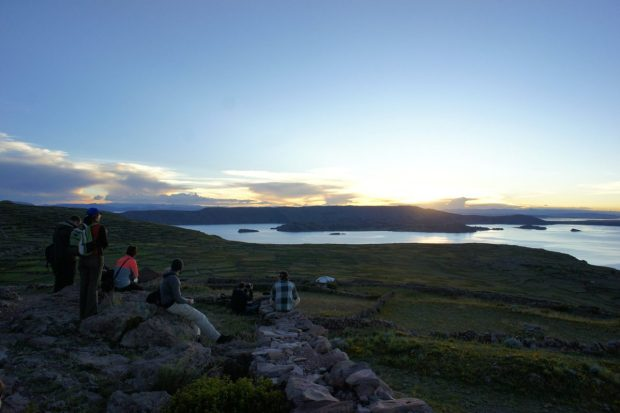 Sunset over Lake Titicaca and Amantani Island.