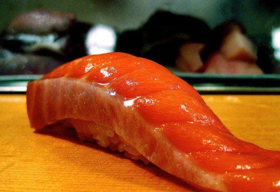 Delectable salmon sushi