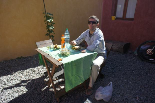 Soaking up the sun in Hostal La Morada's Courtyard