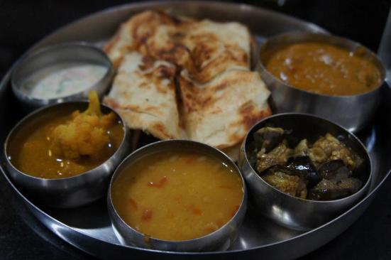 A seafood thali set at Dal Roti