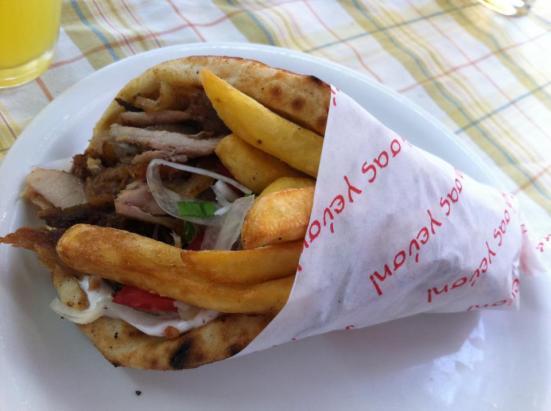 A gyros pita in Greece