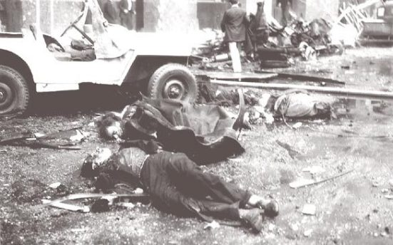 The aftermath of the Plaza de Mayo bombings (public domain photo)