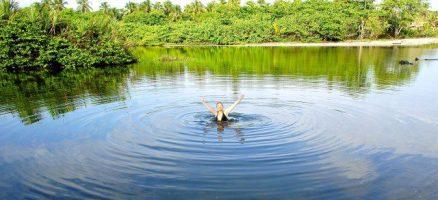 Bathing in a lagoon