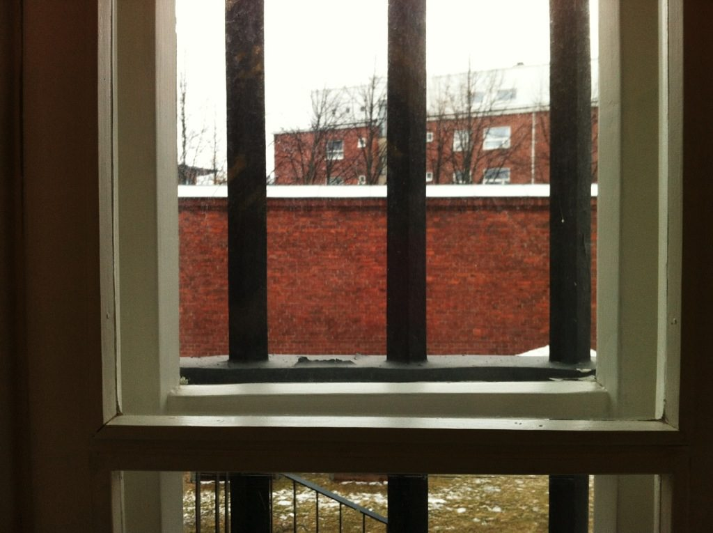Our view of the prison walls from our cell