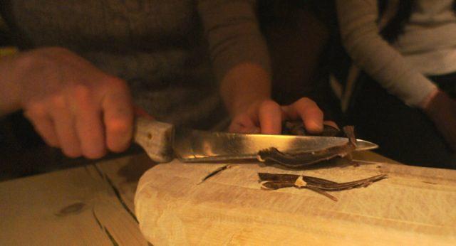 Dried reindeer heart snacks at Engholm Husky