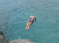 Agri can never resist diving into the sea