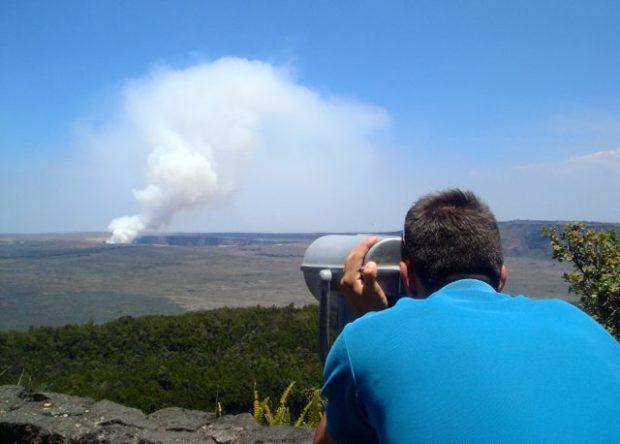 An active volcano at  Halema'uma'u Crater's Overlook in Hawaii