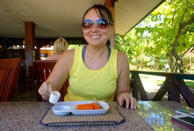 5 kilos lighter and enjoying my first meal of papaya