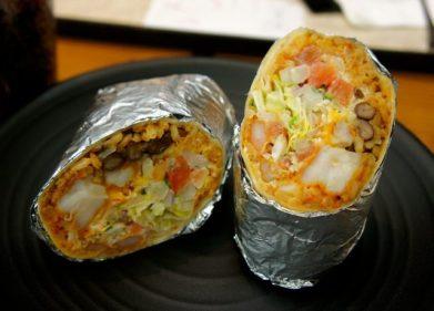 Shrimp burrito from Vatos