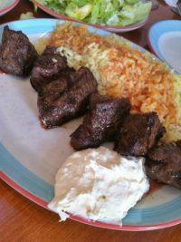 Lamb souvlaki and garlicky tzatziki