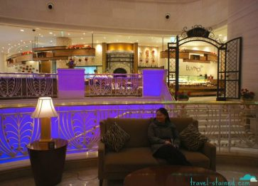 Inside one of the many lobby lounges