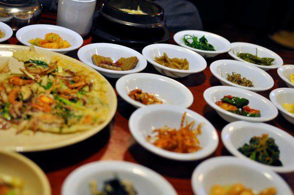 Korean side dishes, photo by Sarah Mak