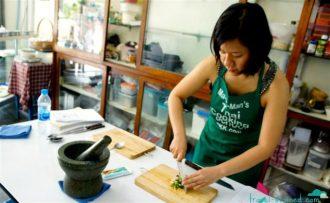 Chopping the veggies